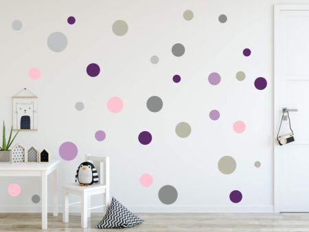 XL Wandtattoo Kreise 120 Stück – 73078-SET8-120 violett grau