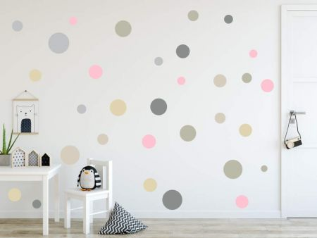 XL Wandtattoo Kreise 120 Stück – 73078-SET3-120 rosa grau