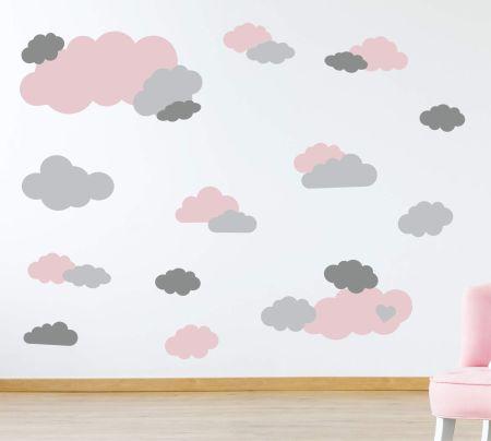 timalo® Wandtattoo 35 große Wolken | 73091-SET1-35 | altrosa hellgrau grau