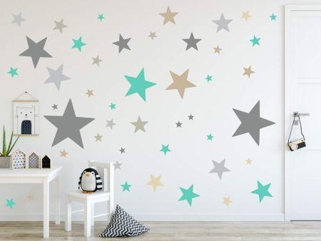 timalo® XL Wandtattoo 120 Sterne Aufkleber | 73079-SET5-120 grau beige braun mint - matt
