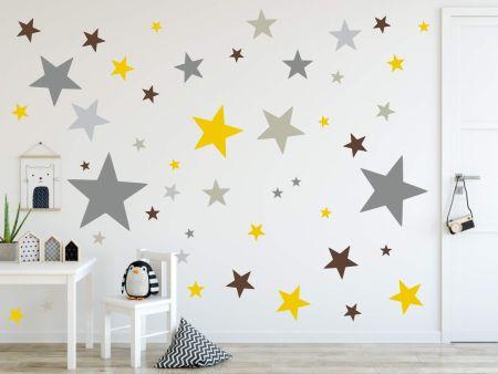 timalo® XL Wandtattoo 120 Sterne Aufkleber | 73079-SET10-120 grau braun & gelb - matt