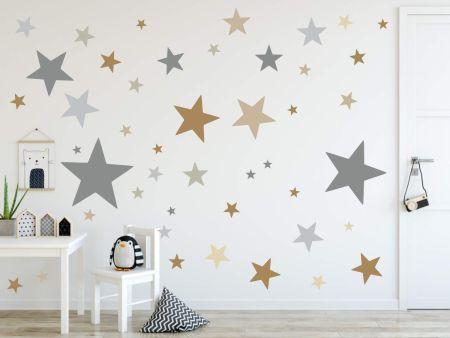 timalo® XL Wandtattoo 120 Sterne | 73079-SET2-120 grau beige braun - matt