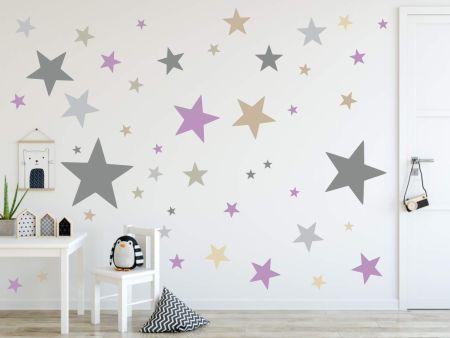 timalo® XL Wandtattoo 120 Sterne Aufkleber | 73079-SET6-120 grau beige und flieder - matt