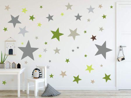 timalo® XL Wandtattoo 120 Sterne Aufkleber | 73079-SET11-120 grau grün olive dunkel beige - matt
