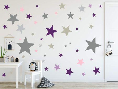 timalo® XL Wandtattoo 120 Sterne Aufkleber | 73079-SET8-120 grau rosa violett/ lila & Flieder - matt