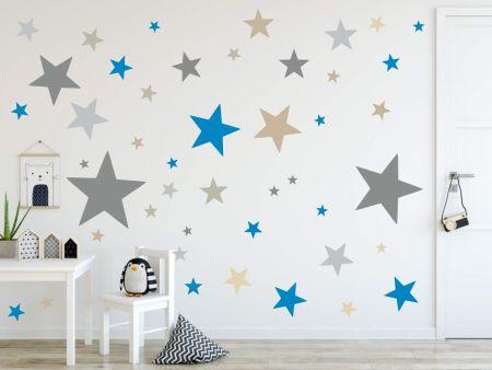 timalo® XL Wandtattoo 120 Sterne Aufkleber | 73079-SET1-120 grau blau beige