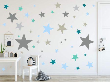 timalo® XL Wandtattoo 120 Sterne Aufkleber | 73079-SET9-120 grau mint blau petrol - matt