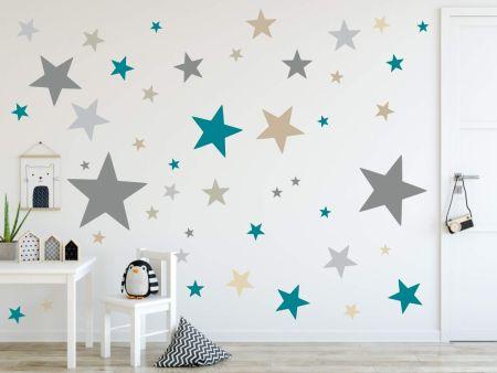 timalo® XL Wandtattoo 120 Sterne Aufkleber | 73079-SET4-120 grau beige braun türkis blau Petrol - matt