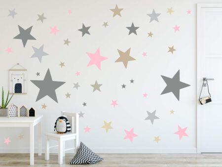timalo® XL Wandtattoo 120 Sterne Aufkleber | 73079-SET3-120 grau beige rosa - matt