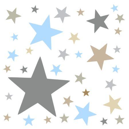 timalo® XL Wandtattoo 120 Sterne Aufkleber | 73079-SET7-120 blau beige braun und grau - matt