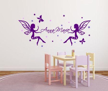 Wandtattoo für Mädchen Elfen - Fee mit Namen und bunten Sternen - tricolore 72465