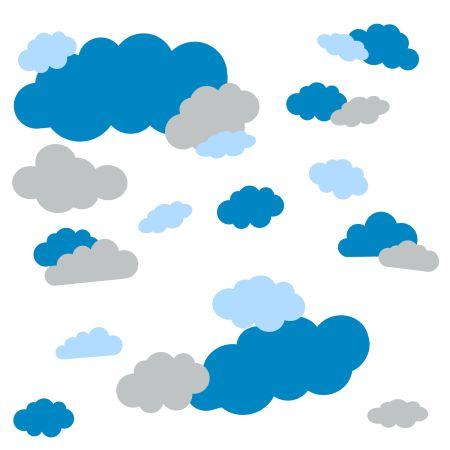 timalo® Wandtattoo 35 große Wolken | 73091-SET11-35 | hellblau hellgrau puderblau