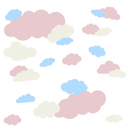timalo® Wandtattoo 35 große Wolken | 73091-SET12-35 | altrosa creme puderblau