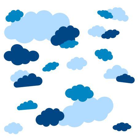 timalo® Wandtattoo Wolken 35 große Sticker | 73091-SET15-35 | puderblau enzian hellblau