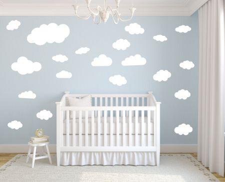 timalo® Wandtattoo Wolken 35 Stück | 73091-SET18-35 | weiß matt