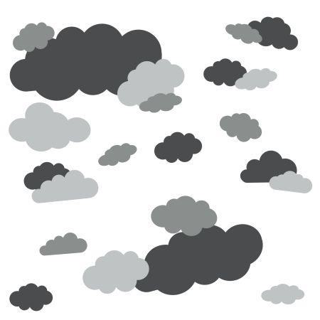 timalo® Wandtattoo 35 große Wolken | 73091-SET5-35 | anthrazit hellgrau grau