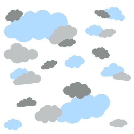 timalo® Wandtattoo 35 große Wolken | 73091-SET8-35 | puderblau hellgrau grau
