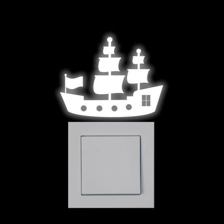 Leuchtaufkleber für Lichtschalter - Piratenschiff - SH005