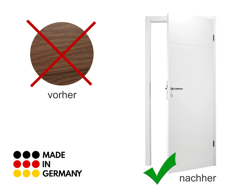Tür mit Folie weiß bekleben